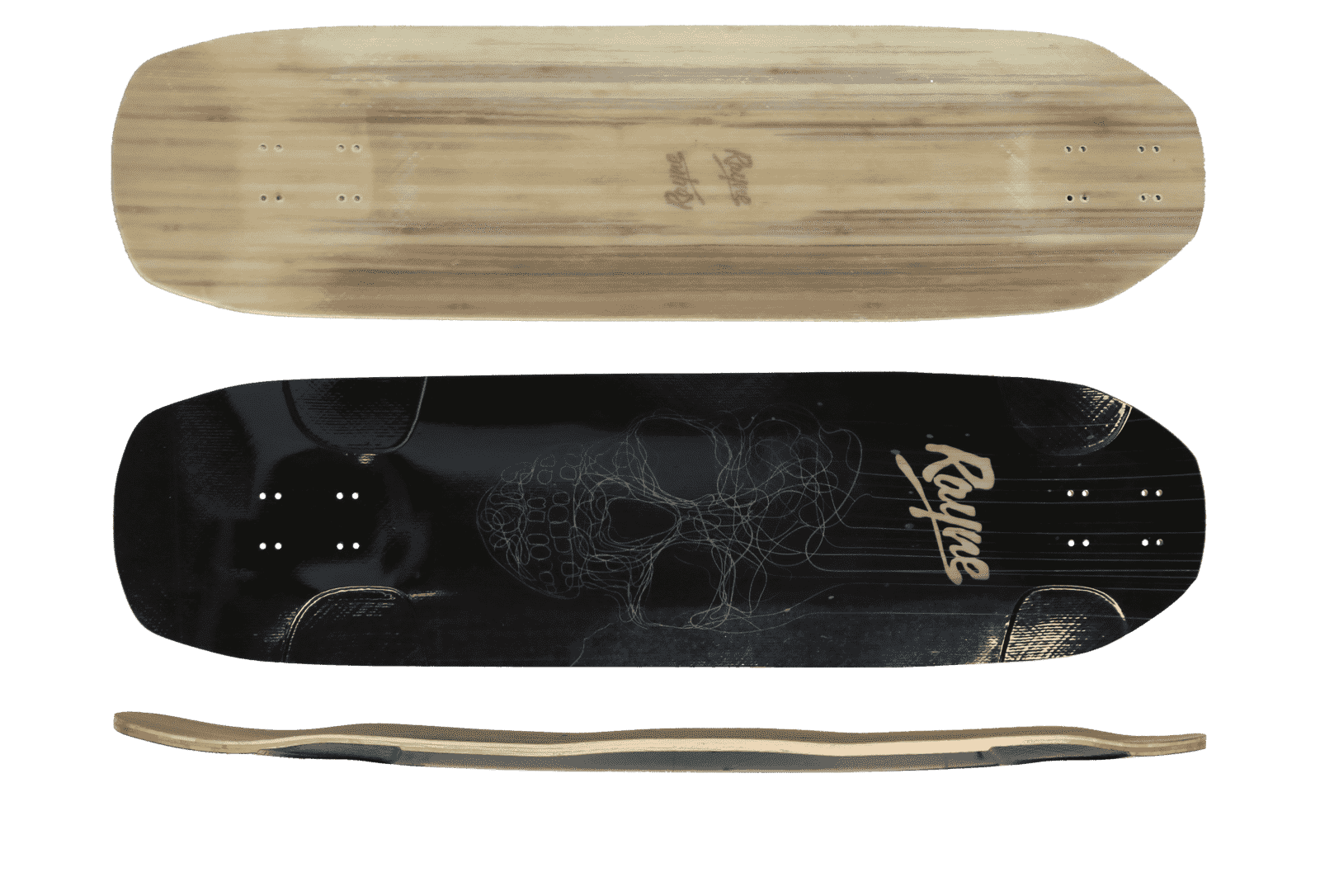 Custom Darkside Skull 36 Rayne Board | Ghost +$0 00 Grip Tape: Clear