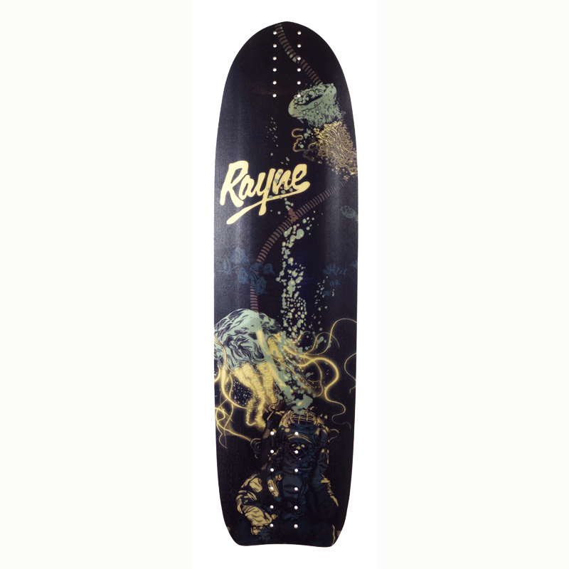 Rayne Longboards Genesis Deep Sea Longboard Skateboard Deck Bottom View